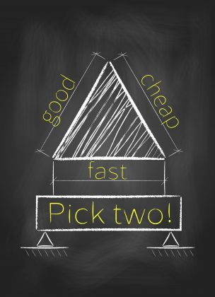 Project management triangle – Pick any two: good, fast and cheap