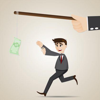 cartoon luring businessman with money