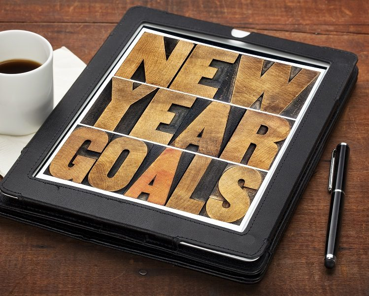 New Year goals on digital tablet
